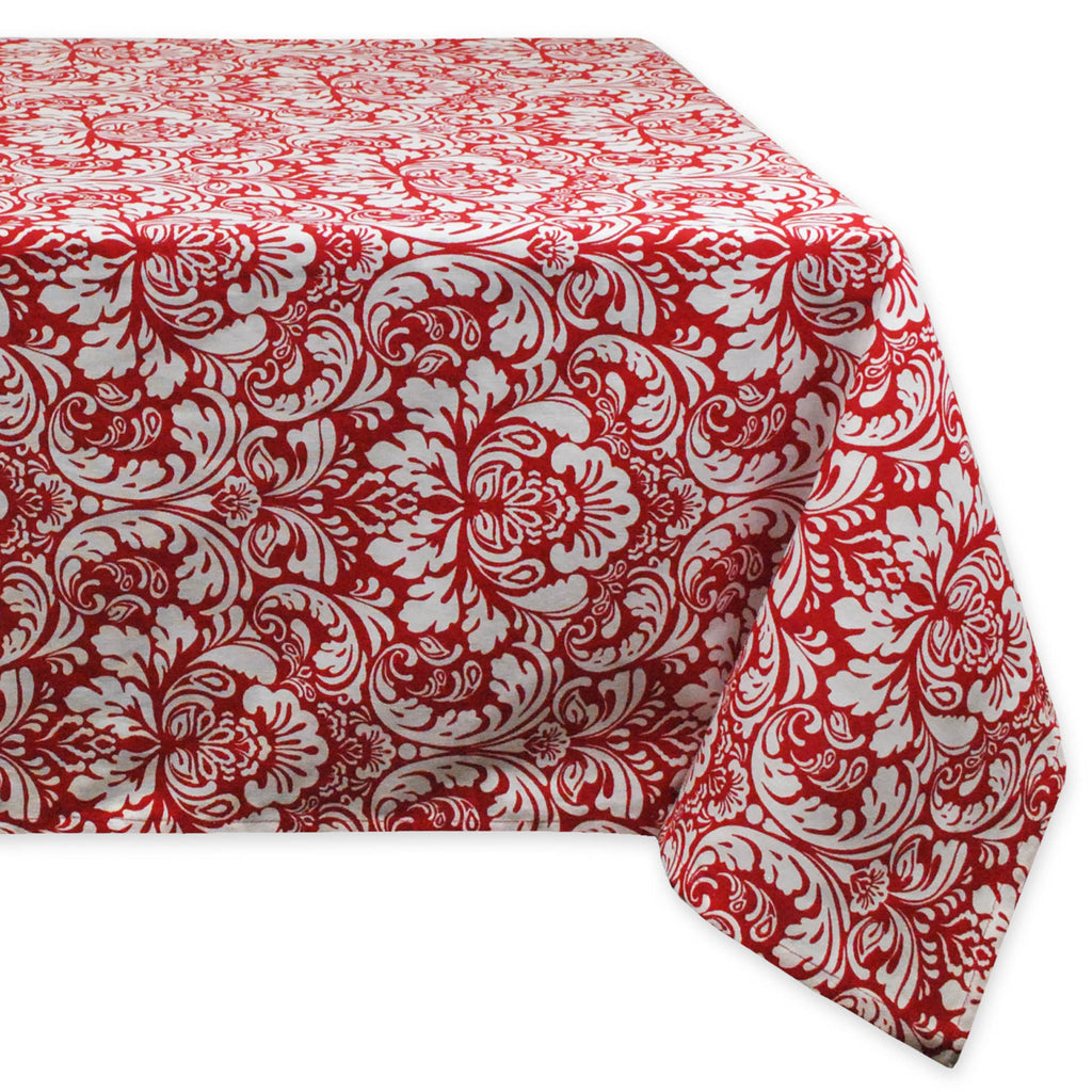 Damask Tango Red Tablecloth 52x52