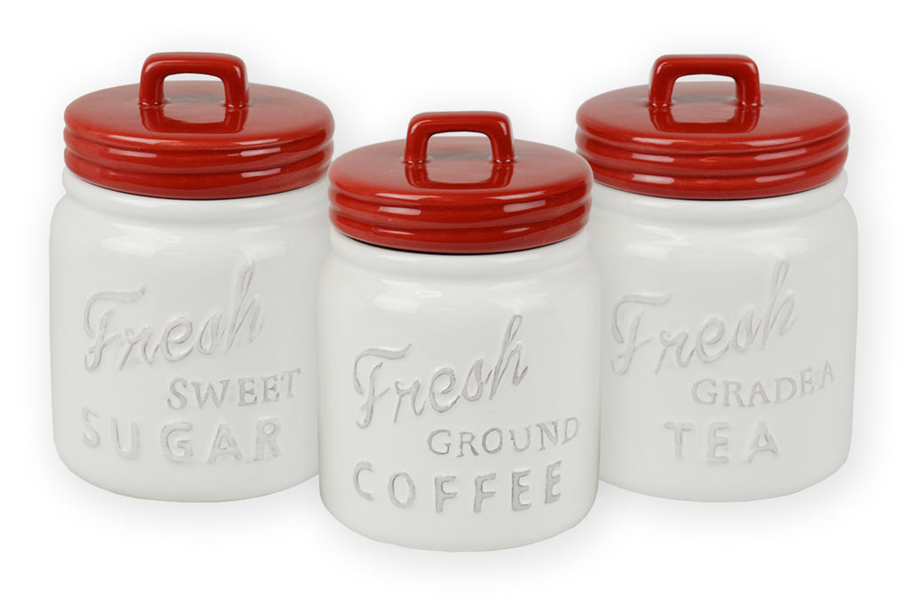 Red Ceramic Jar Canister Set/3