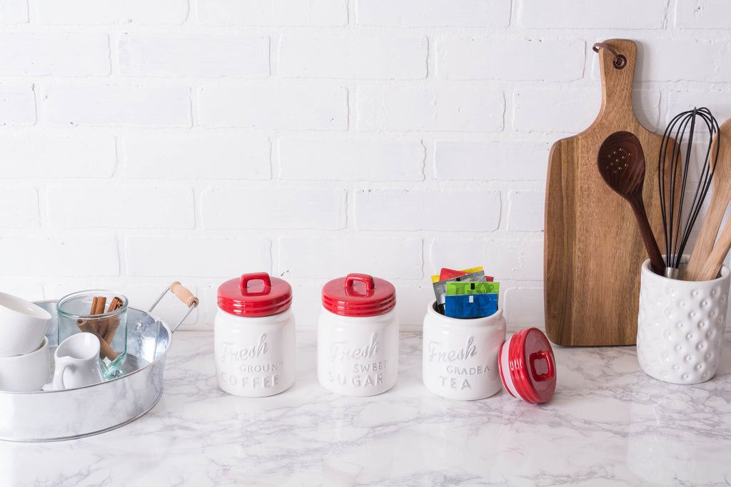 DII Red Ceramic Jar Canister (Set of 3)