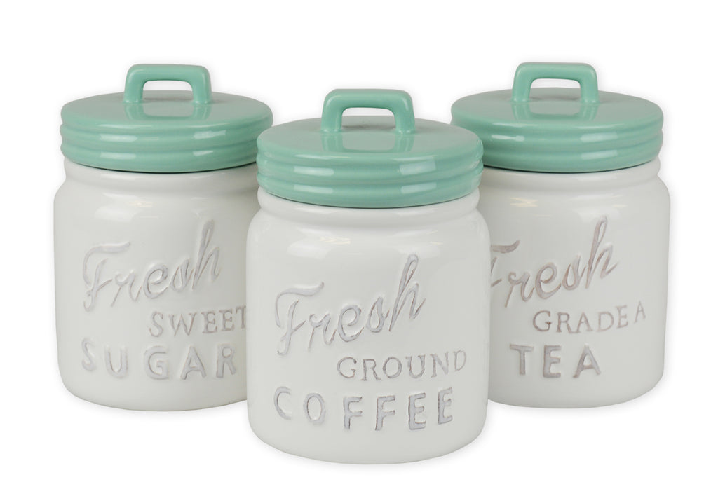 Aqua Ceramic Jar Canister Set/3