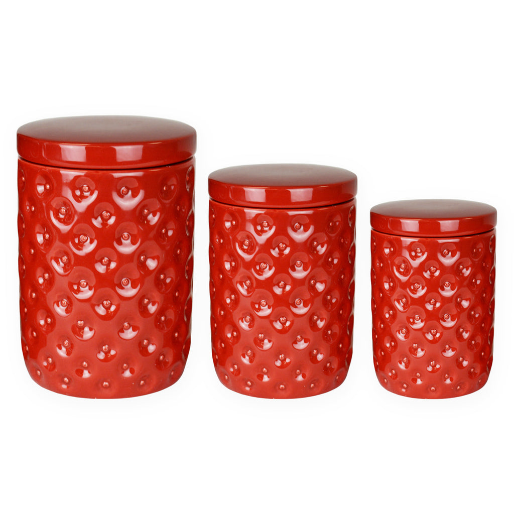 DII Ceramic Nested Canister (Set of 3) Red
