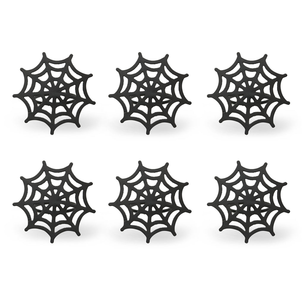 Black Spider Web Napkin Ring Set/6