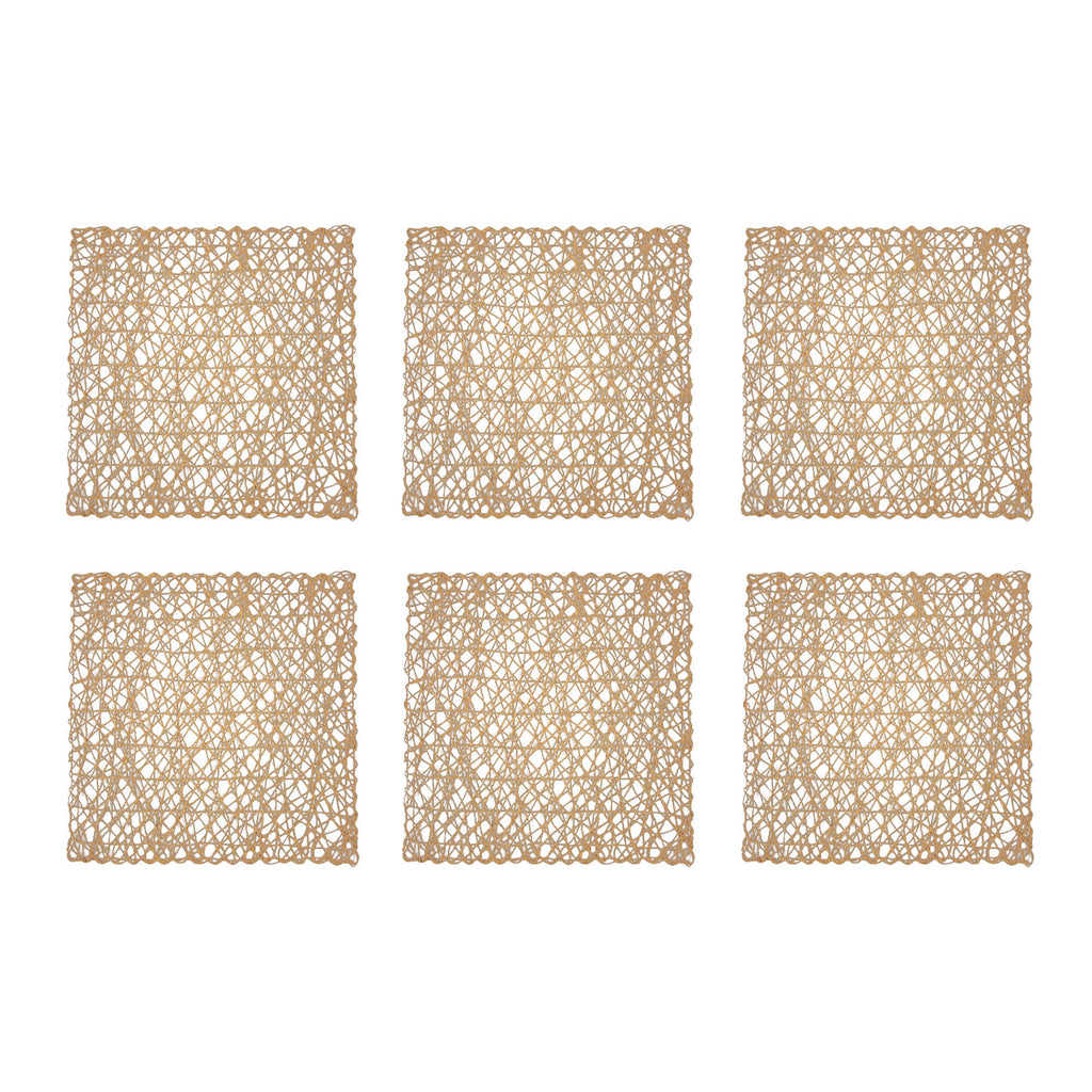 Taupe Woven Paper Square Placemat Set/6
