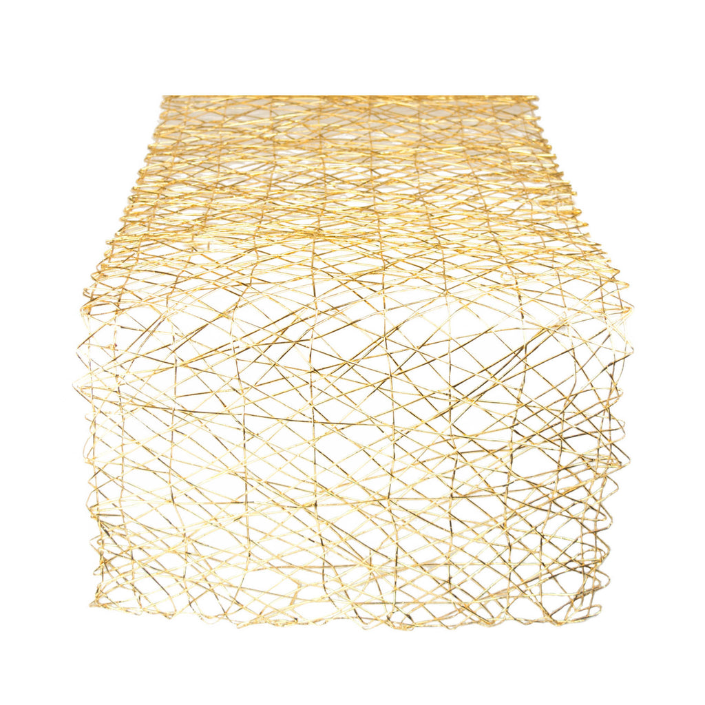 Gold Woven Paper Table Runner 14x72