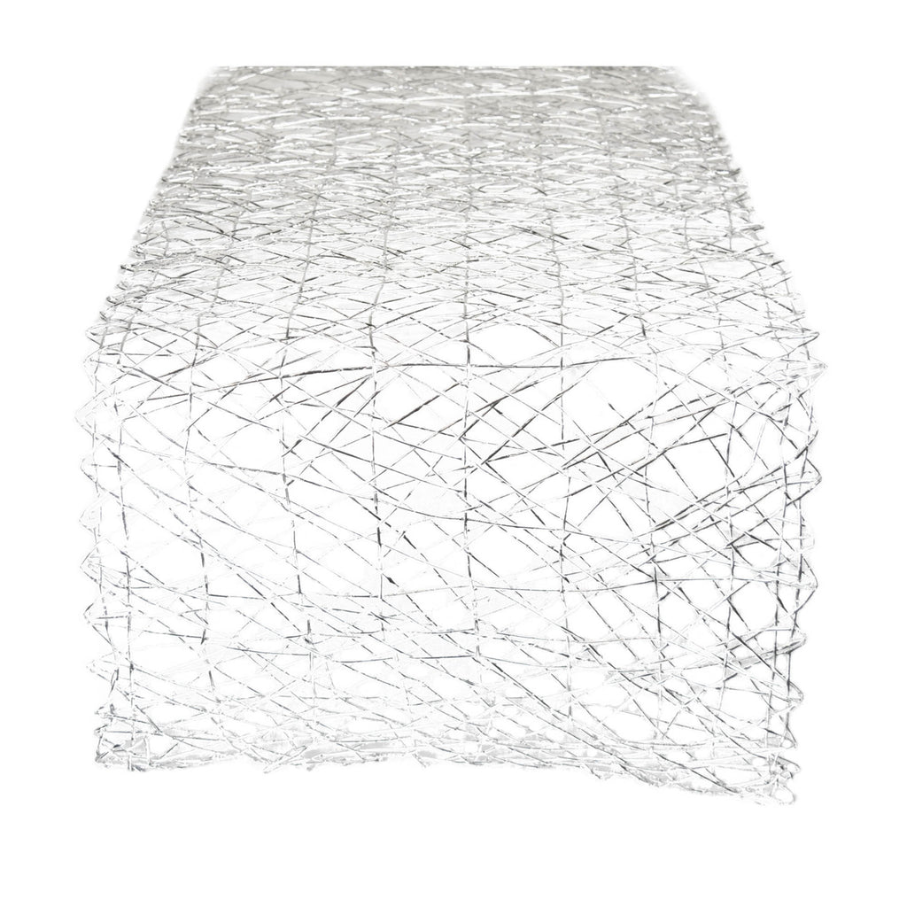 Silver Woven Paper Table Runner 14x72