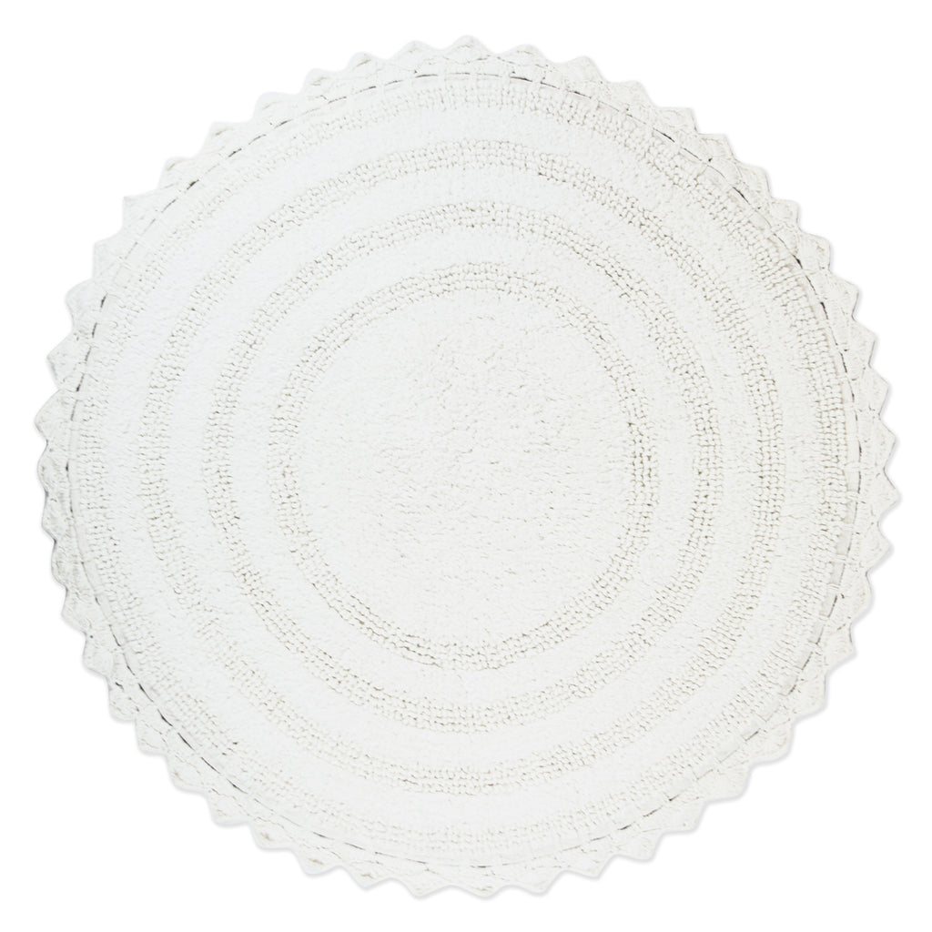White Round Crochet Bath Mat
