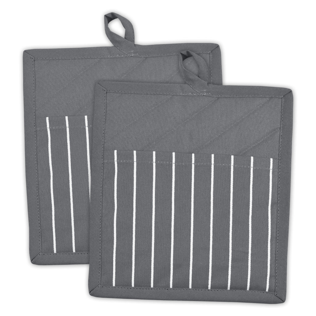Gray Stripe Chef Potholder Set/2