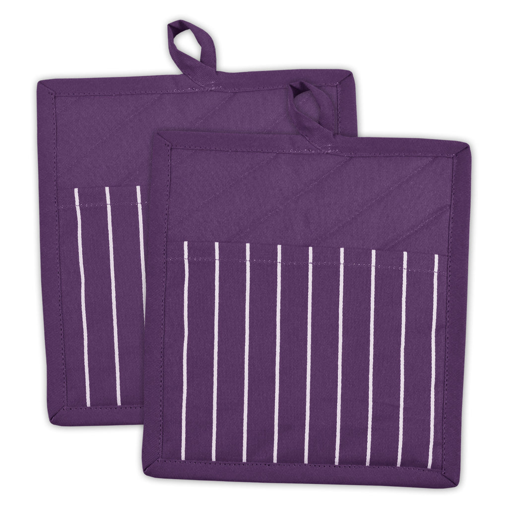 Eggplant Stripe Chef Potholder Set/2