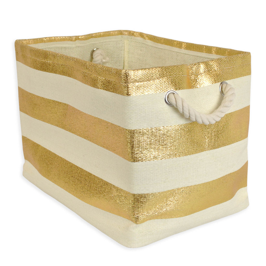 Paper Basket Stripe Gold Rectangle Medium 15x14x10