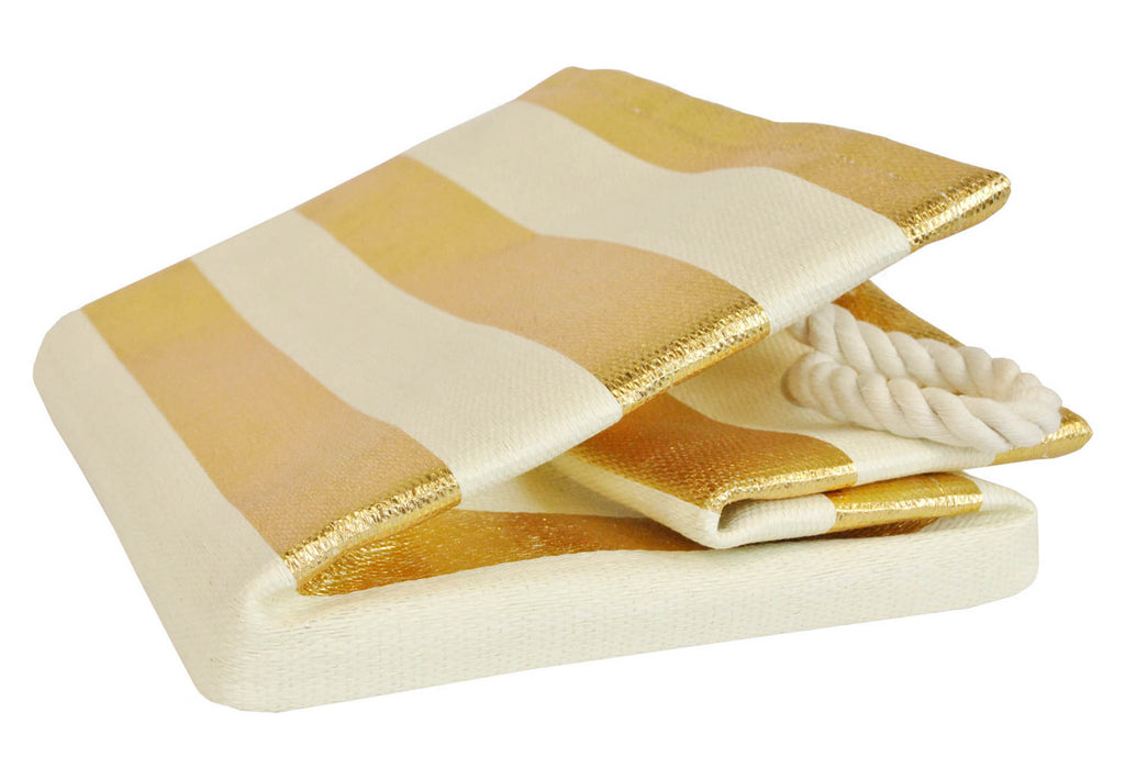 DII Paper Basket Stripe Gold Rectangle Medium