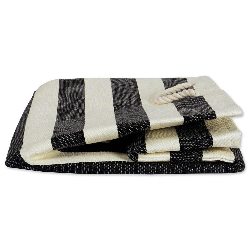 DII Paper Basket Stripe Black Rectangle Large