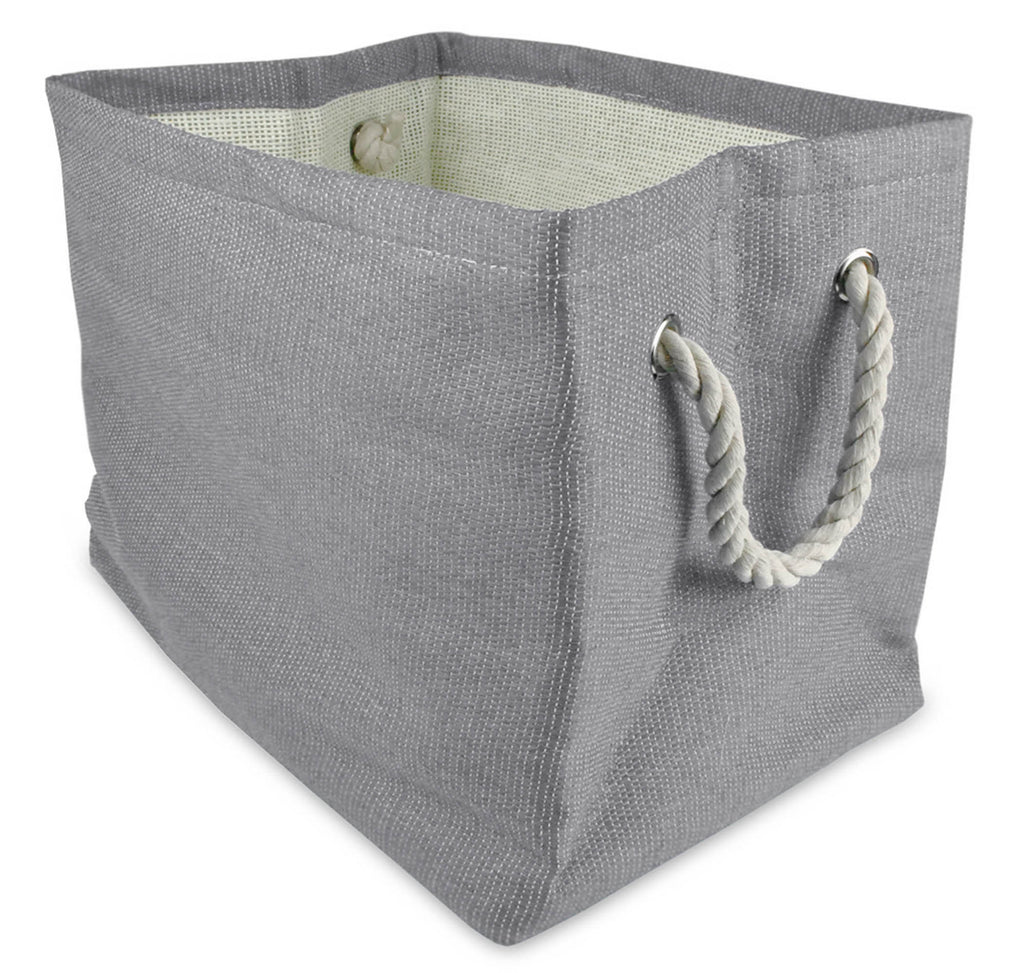 Paper Basket Solid Gray Rectangle Medium 15x14x10