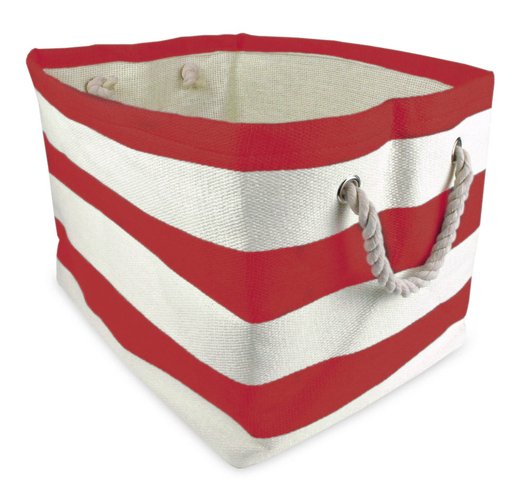 Paper Basket Stripe Tango Red Rectangle Large 17x15x12