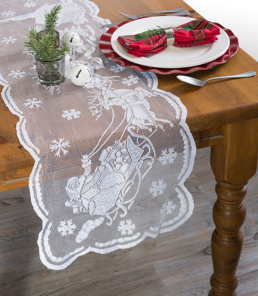 DII White Snow Village Lace Table Runner, 14x72""
