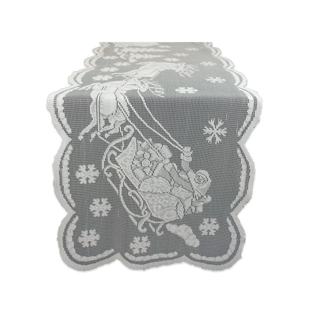 White Snow Village Lace Table Runner 14x72