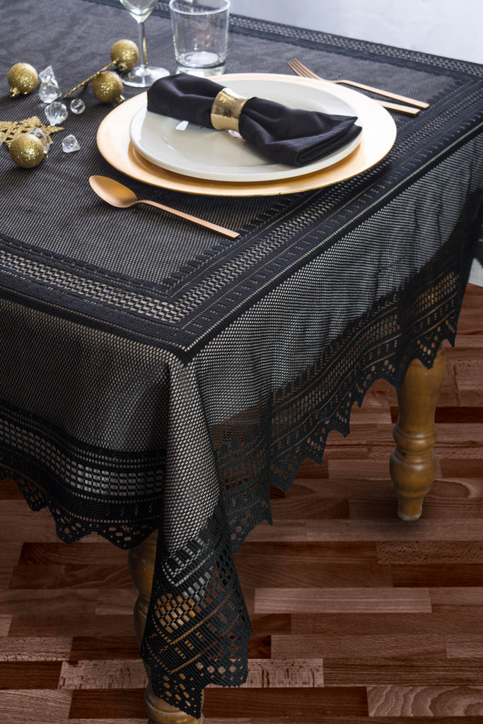 DII Black Nordic Lace Tablecloth