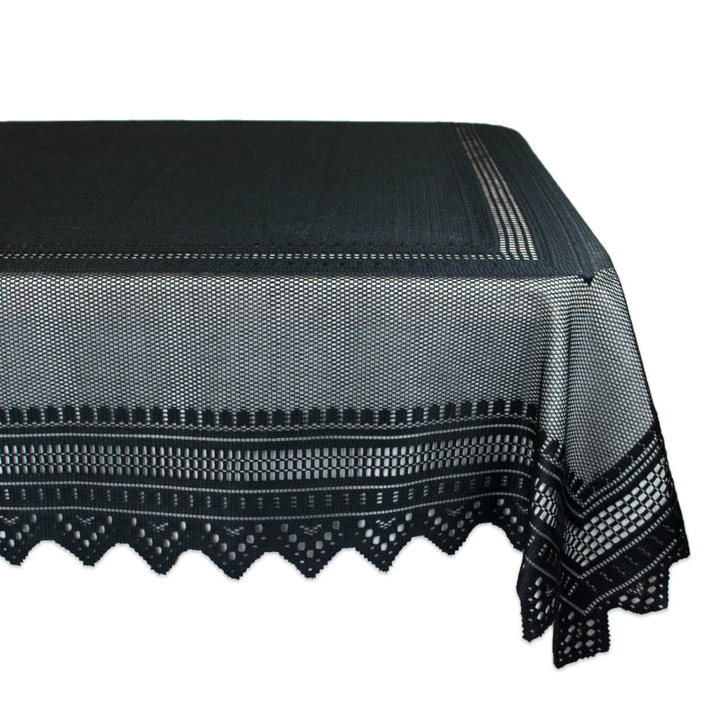 Black Nordic Lace Tablecloth 52x90