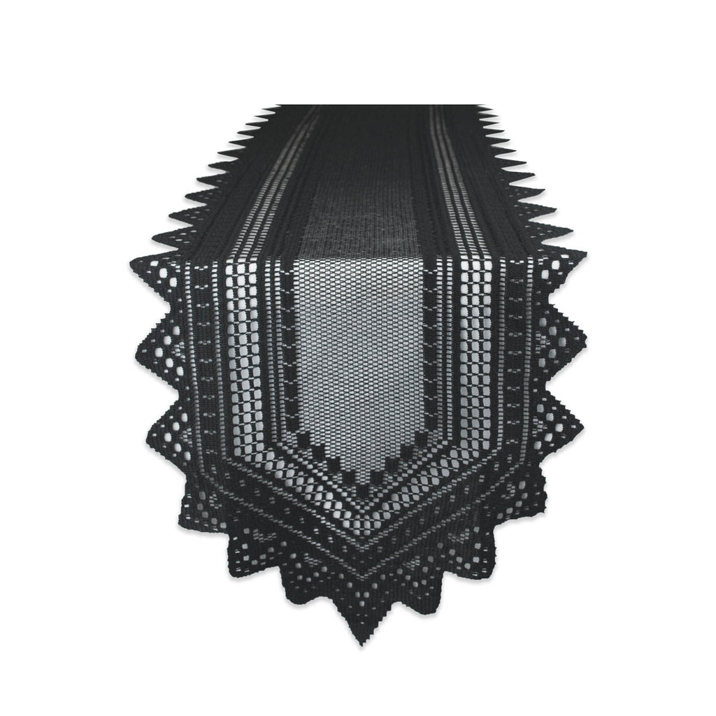 Black Nordic Lace Table Runner 14x72