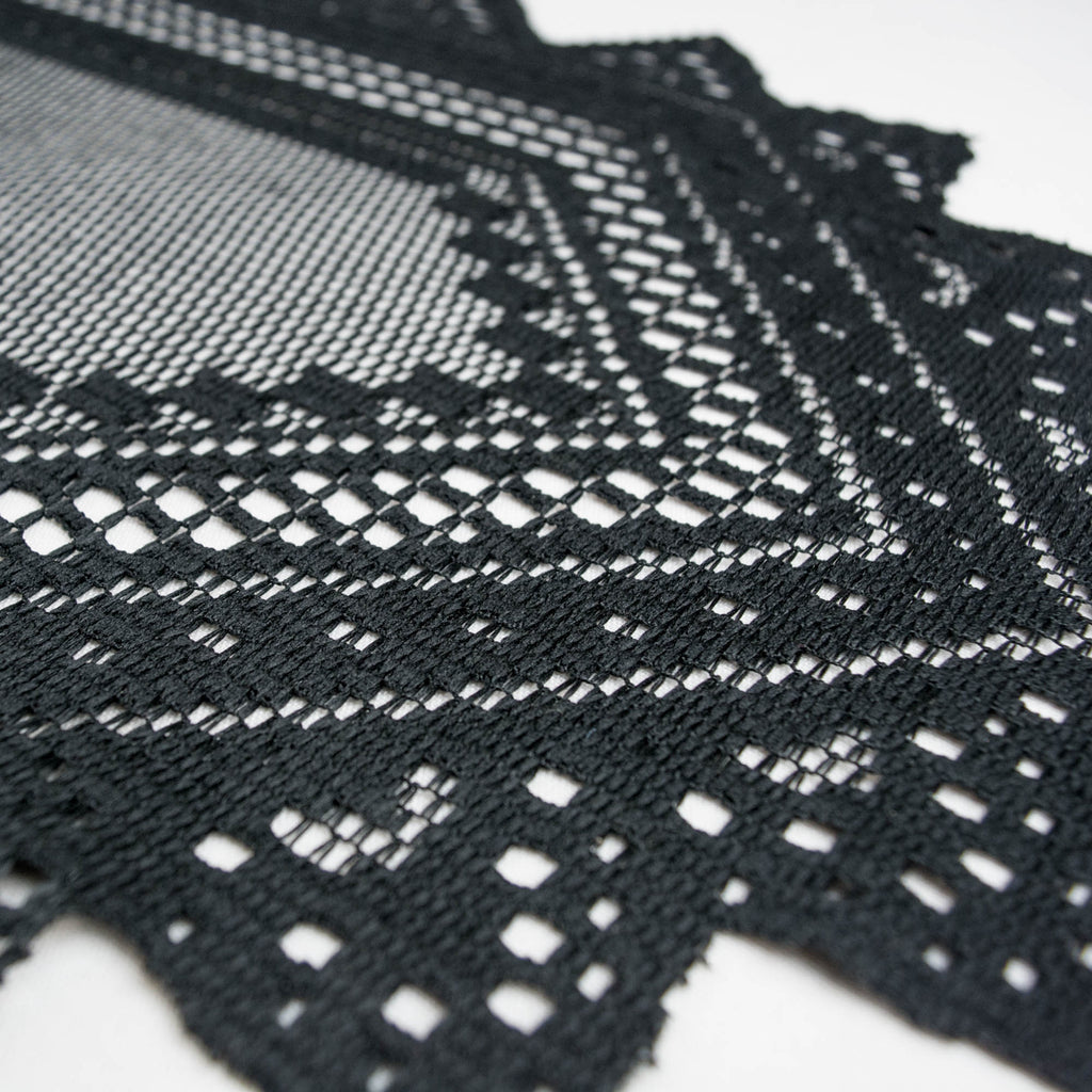 DII Black Nordic Lace Table Runner, 14x72""