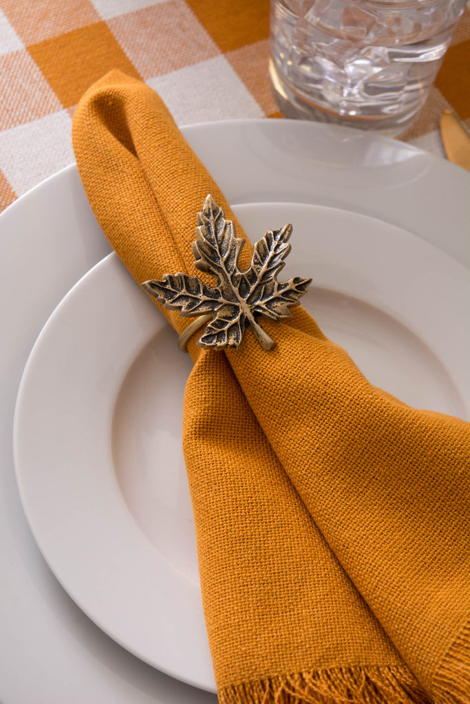 DII Gold Maple Leaf Napkin Ring (Set of 6)