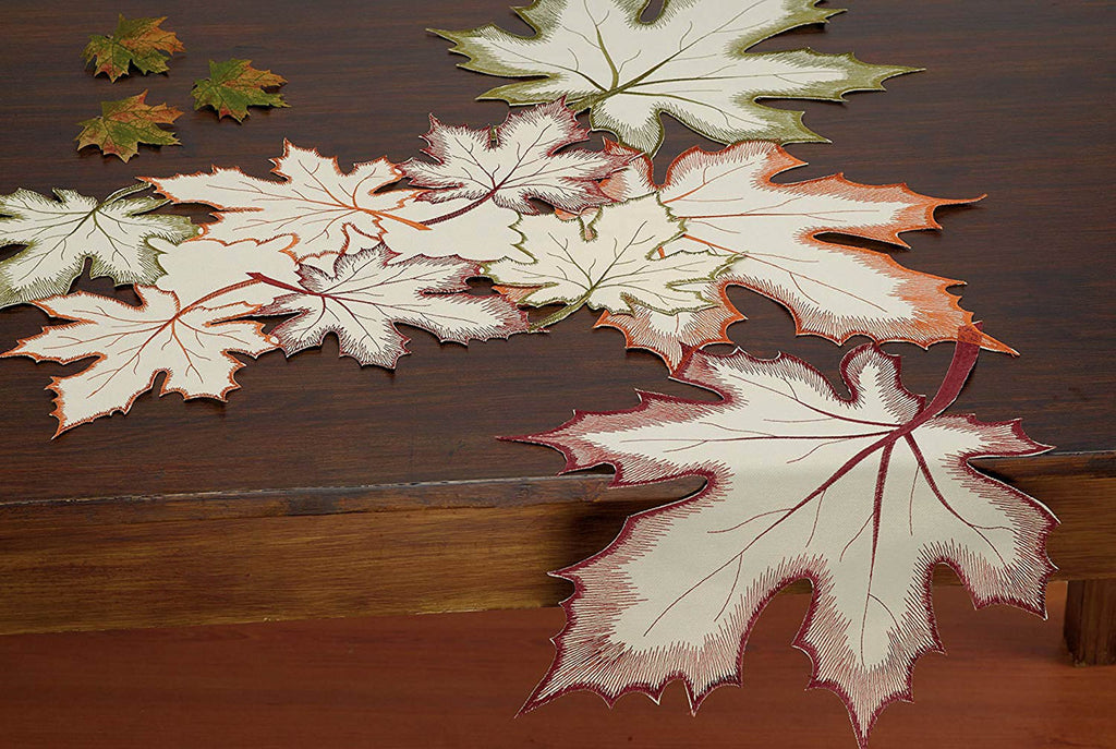 DII Placemat Embroidered Leaves (Set of 4)