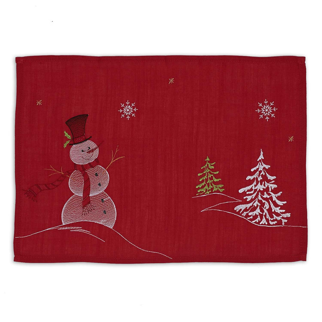 DII Embroidered Snowman Placemat (Set of 4)