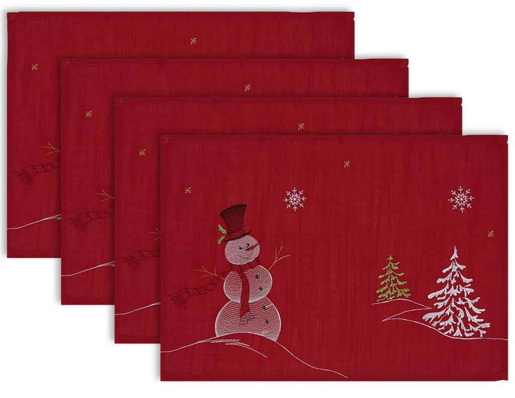 Embroidered Snowman Placemat Set/4