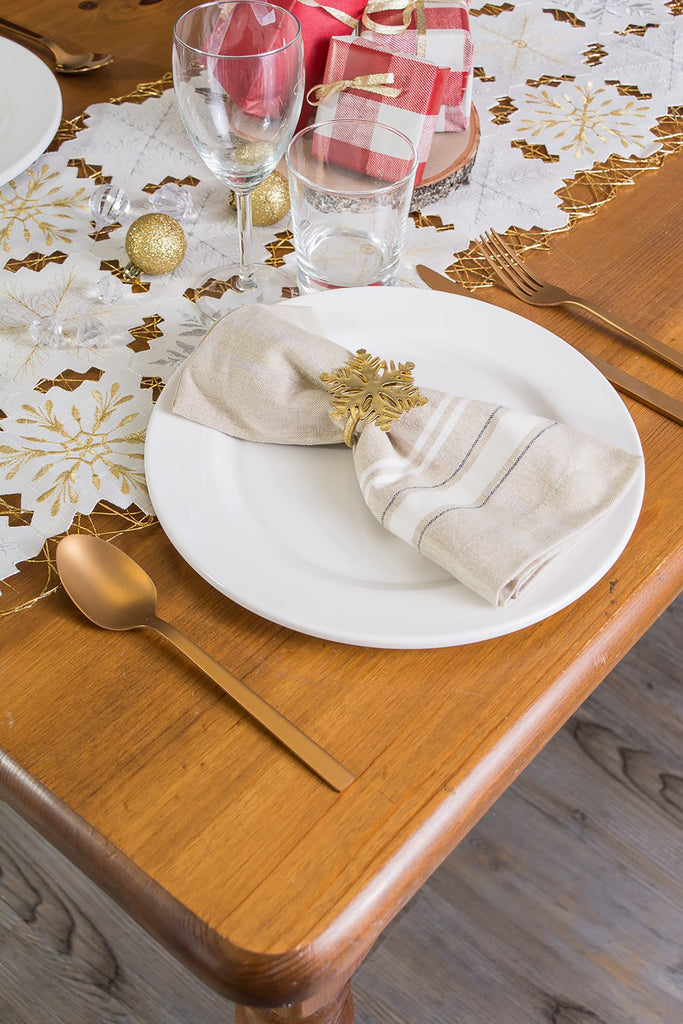 DII Embroidered Snowflakes Table Runner, 14x54""