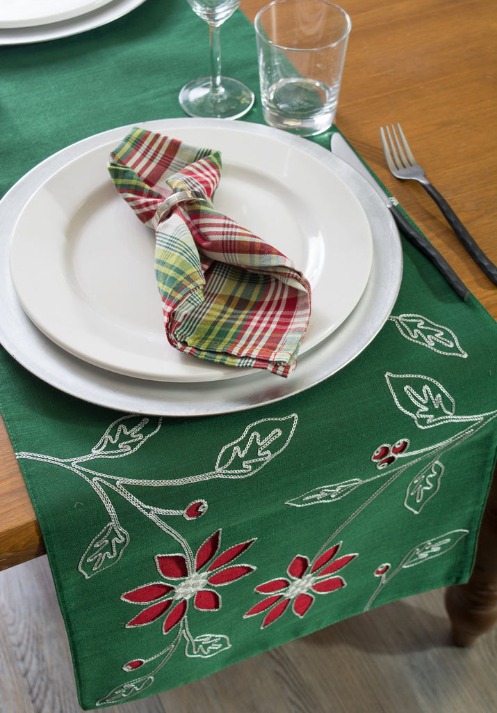 DII Table Runner Embroidered Poinsetta, 14x70""