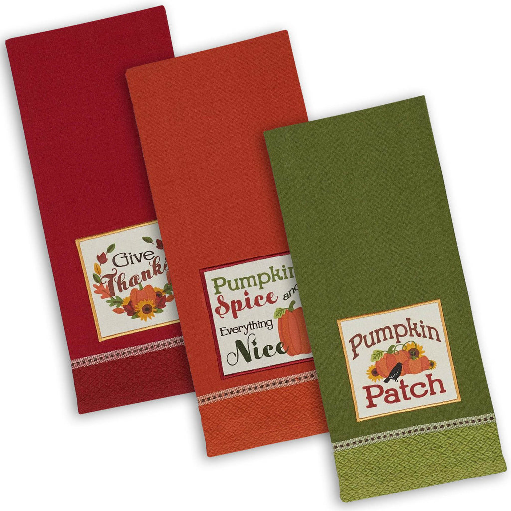Asst Country Pumpkin Embroidered Dishtowel Set/3