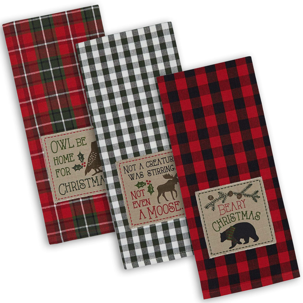 Asst Cabin Christmas Embroidered Dishtowel Set/3