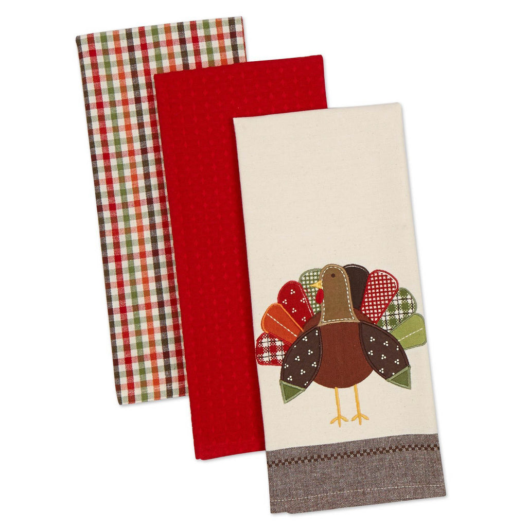 Asst Fall Turkey Embroidered Dishtowel Set/3