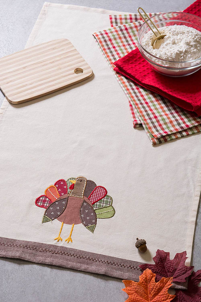 DII Assorted Fall Turkey Embroidered Dishtowel (Set of 3)