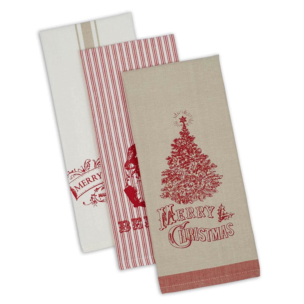 Asst Vintage Print Christmas Dishtowels Set/3