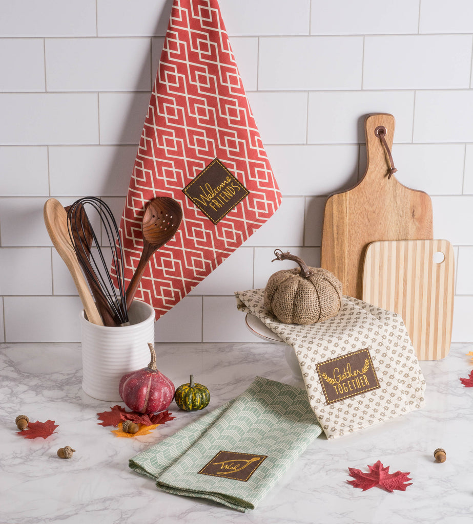 DII Assorted Rustic Fall Embellished Dishtowel (Set of 3)