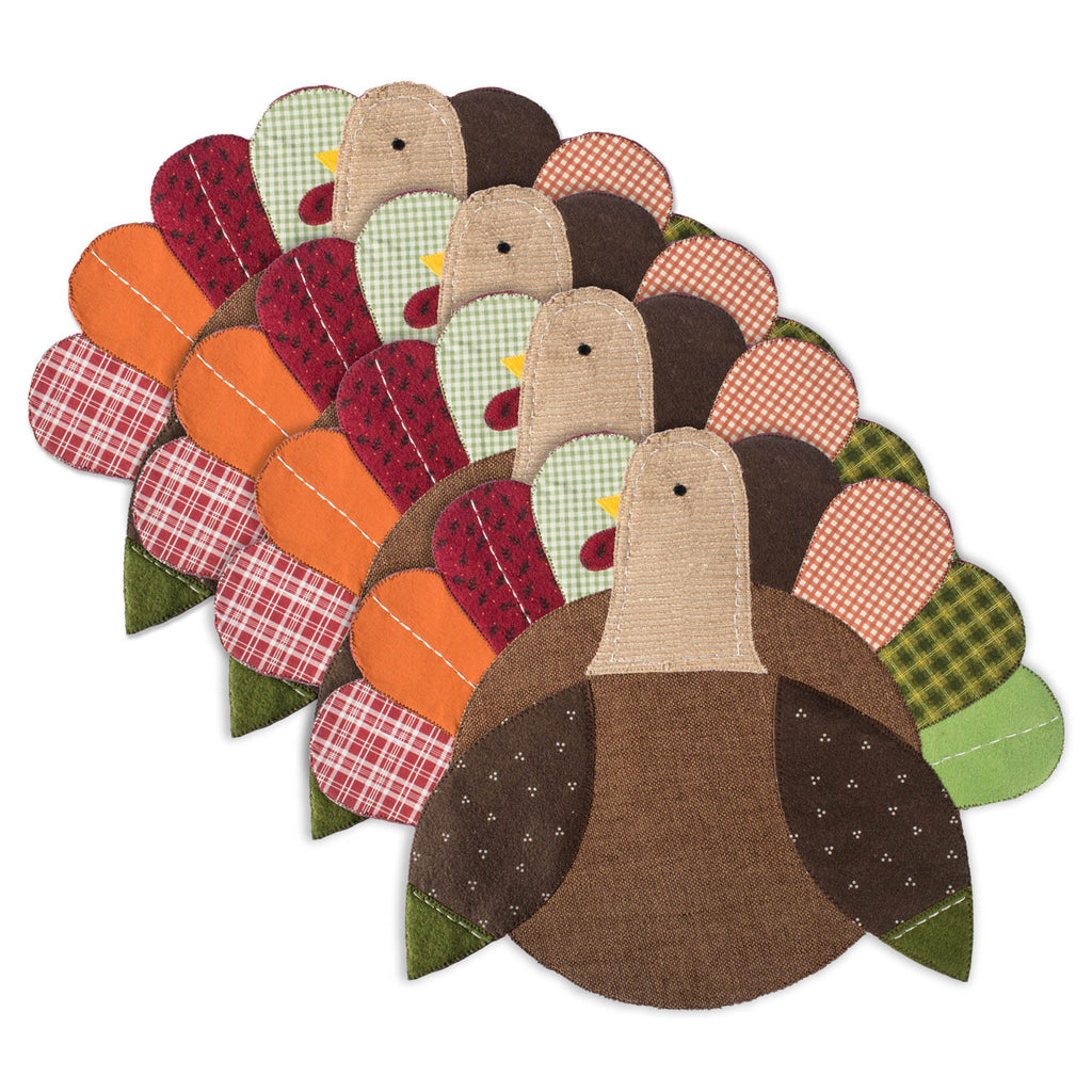 Embroidered Turkey Placemat Set/4