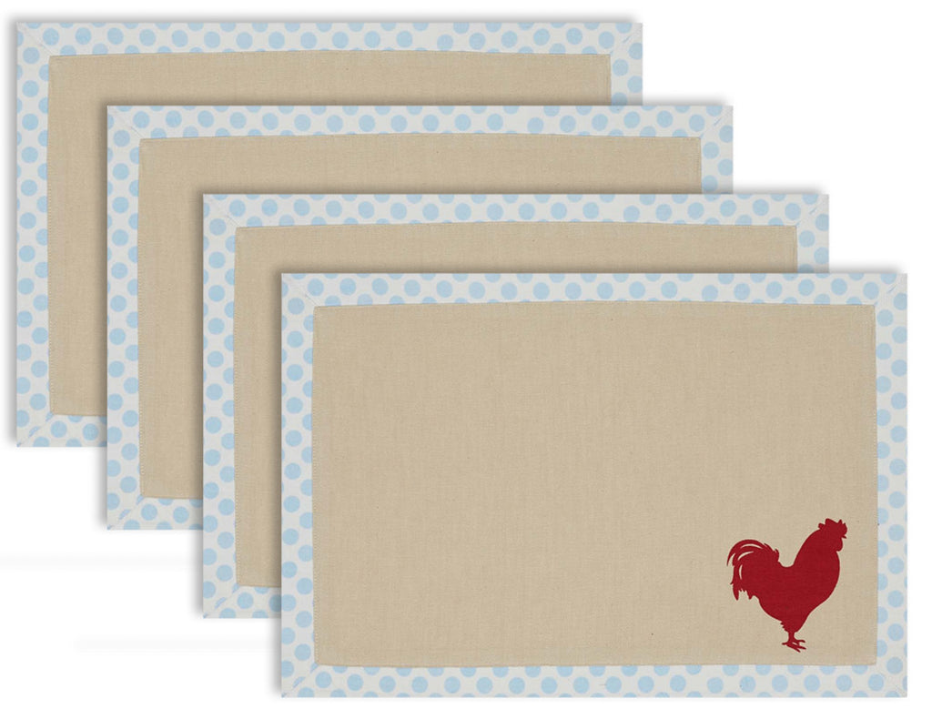 Placemat Red Rooster Printed Set Of 4