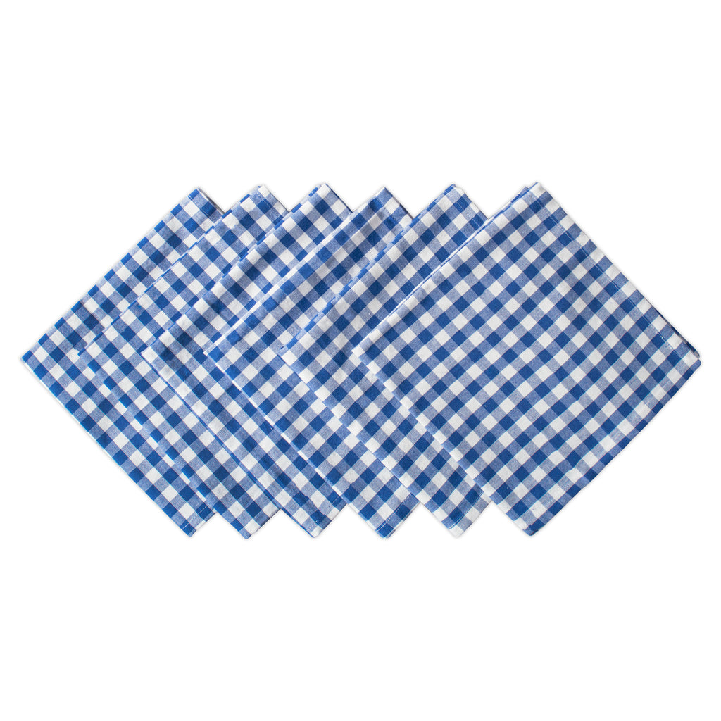 Blue Farm Check Napkin Set/6