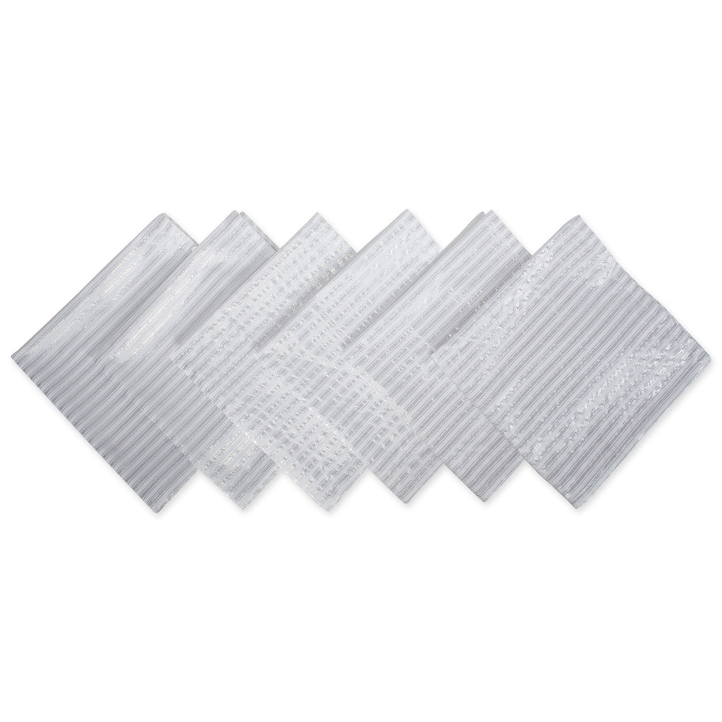 Silver Stripe Napkin Set/6