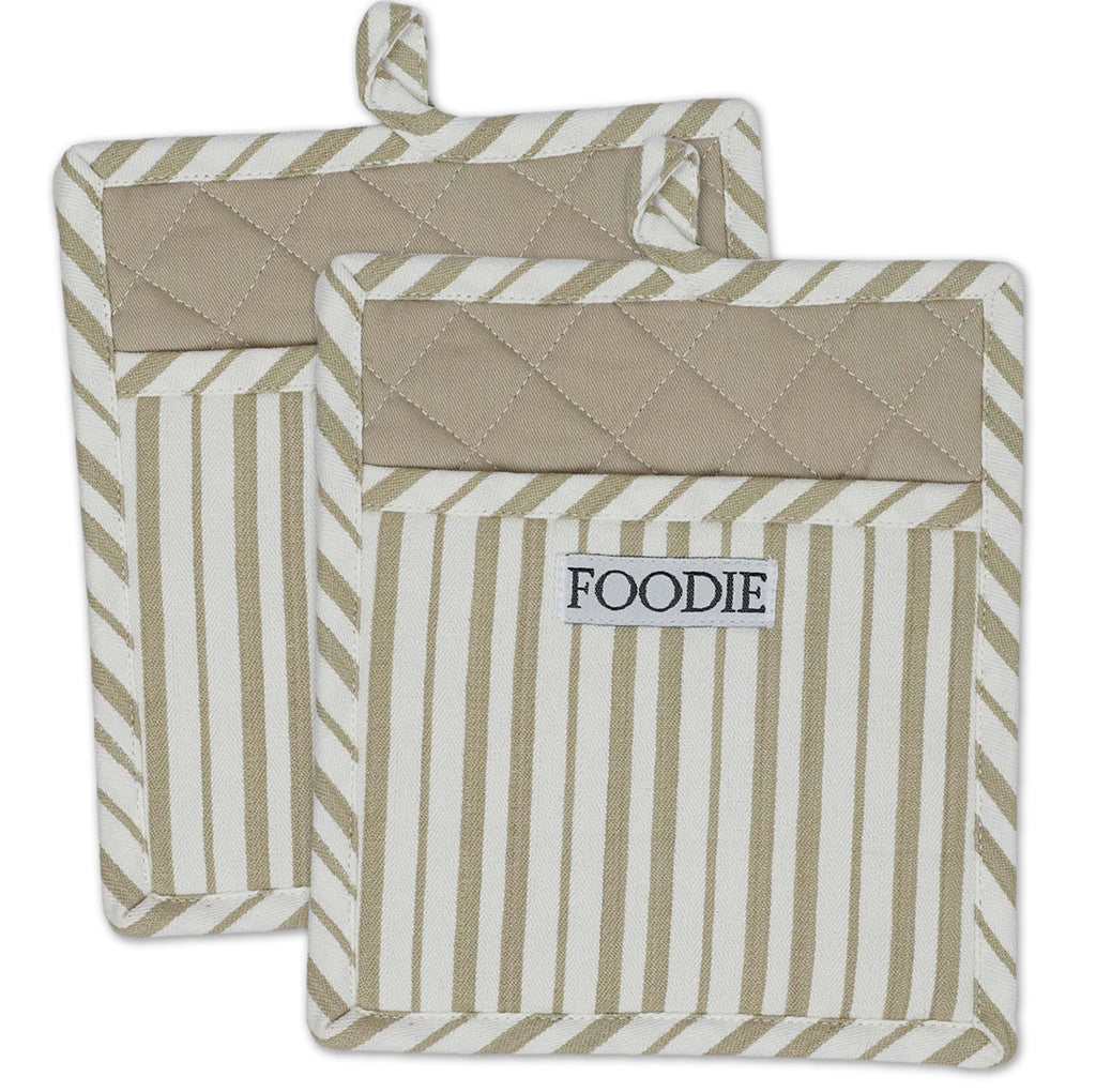 Mushroom Foodie Gourmet Chef Potholder Set/2