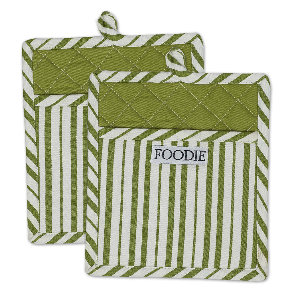 Parsley Foodie Gourmet Chef Potholder Set/2