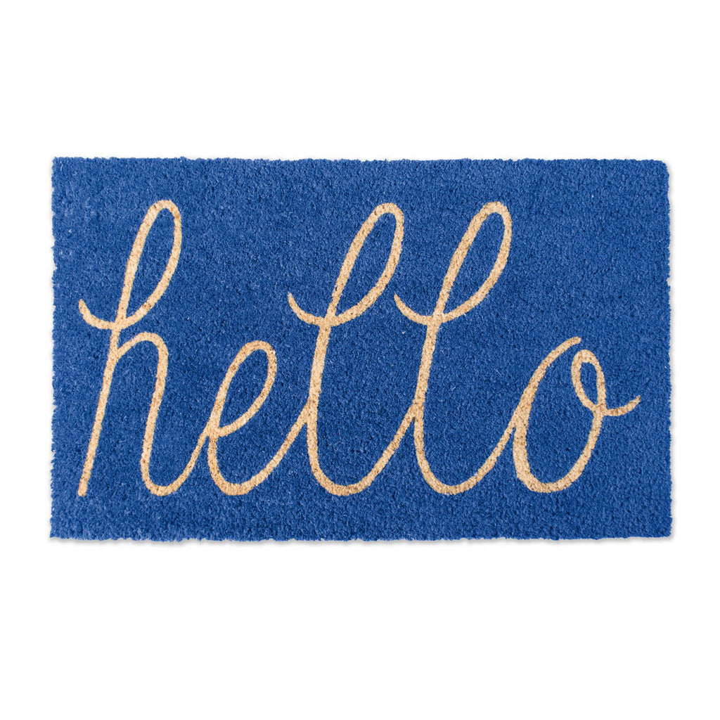 Blue Hello Doormat