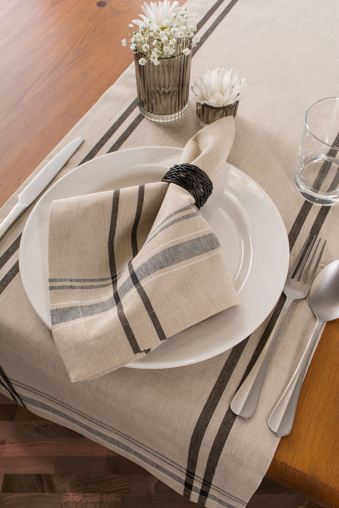 DII Black French Stripe Napkin (Set of 6)