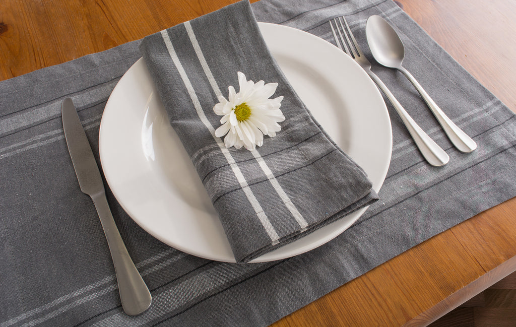 DII Gray Chambray French Stripe Napkin (Set of 6)