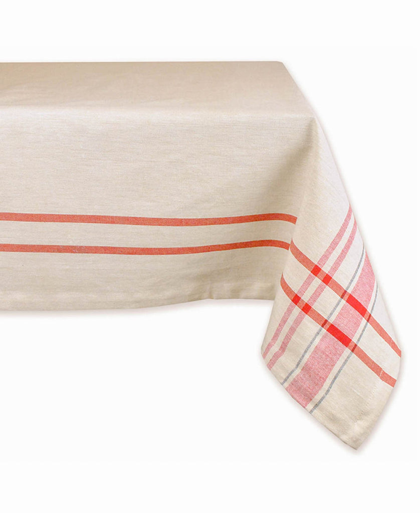 Red French Stripe Tablecloth 52x52