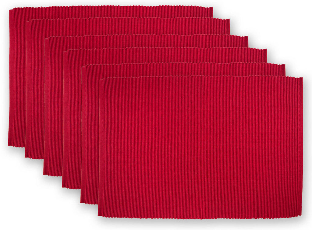 Cardinal Red Ribbed Placemat Set/6