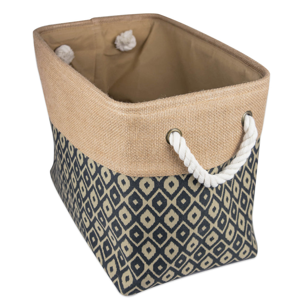 Burlap Bin Ikat Black Rectangle Small 14x8x9