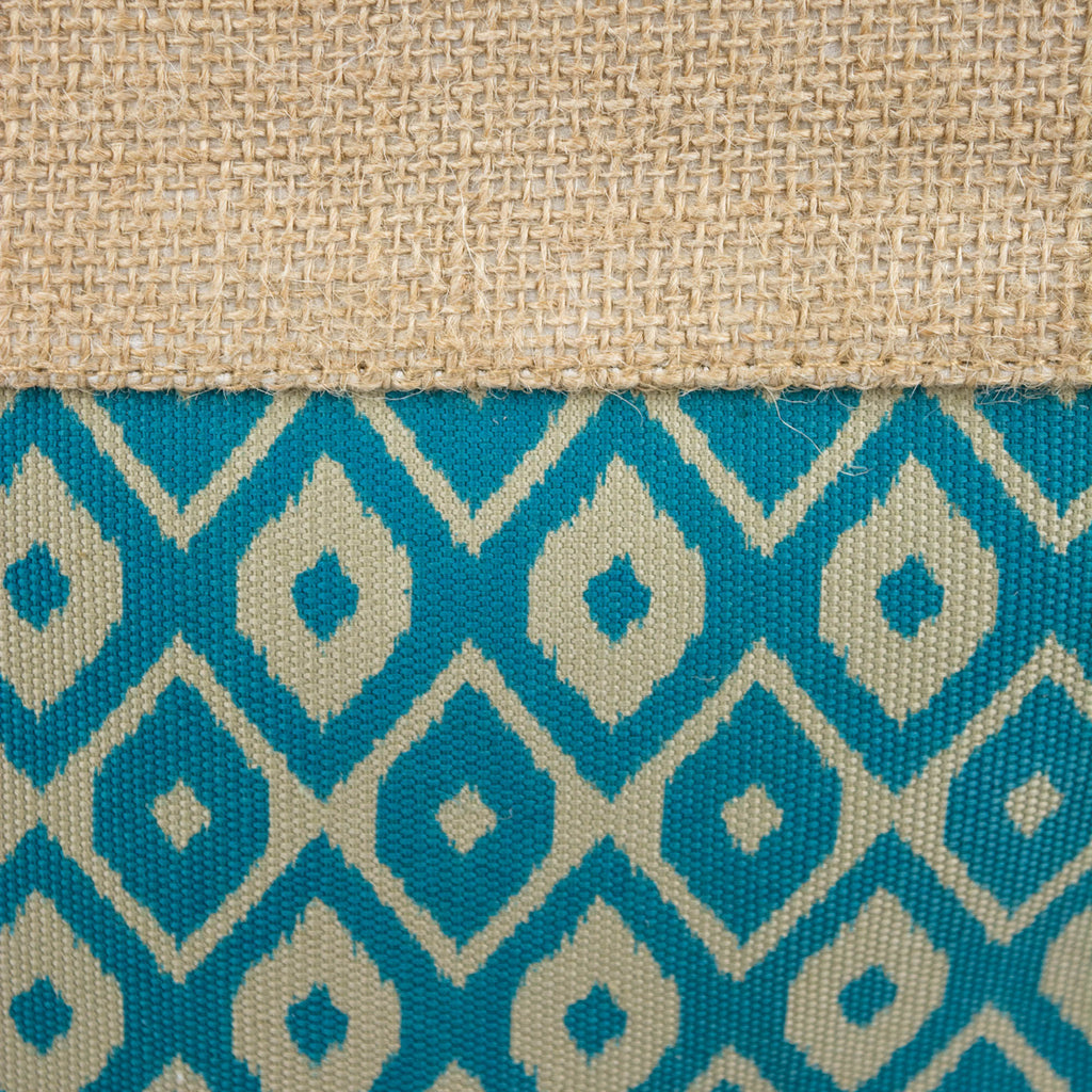 DII Burlap Bin Ikat Teal Rectangle Medium