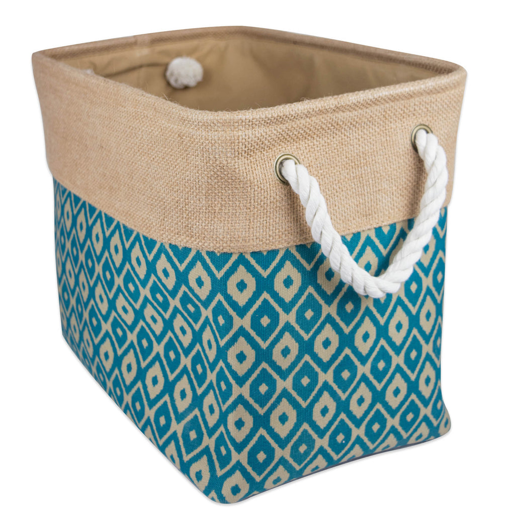 Burlap Bin Ikat Teal Rectangle Medium 16x10x12