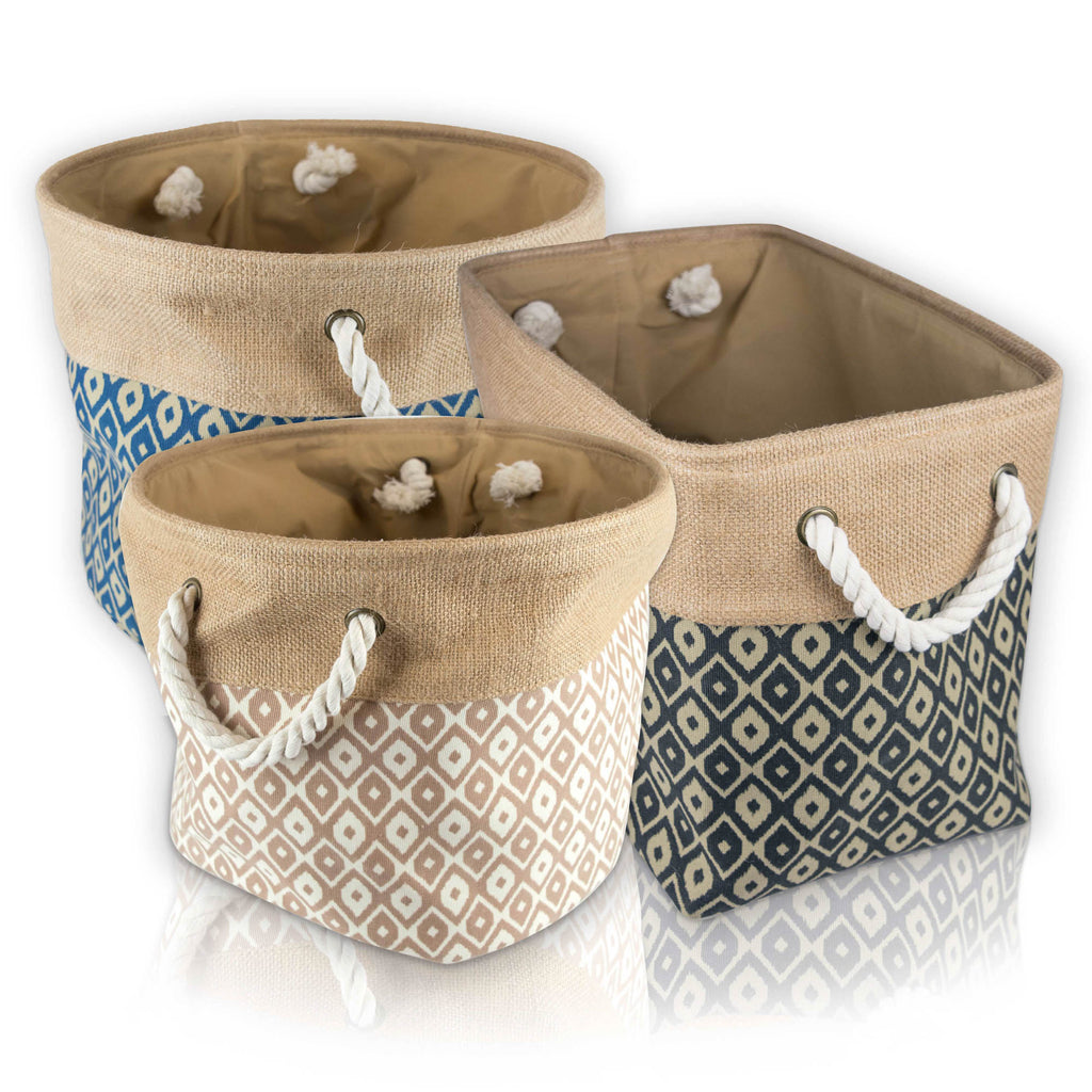 DII Burlap Bin Ikat Blue Rectangle Medium